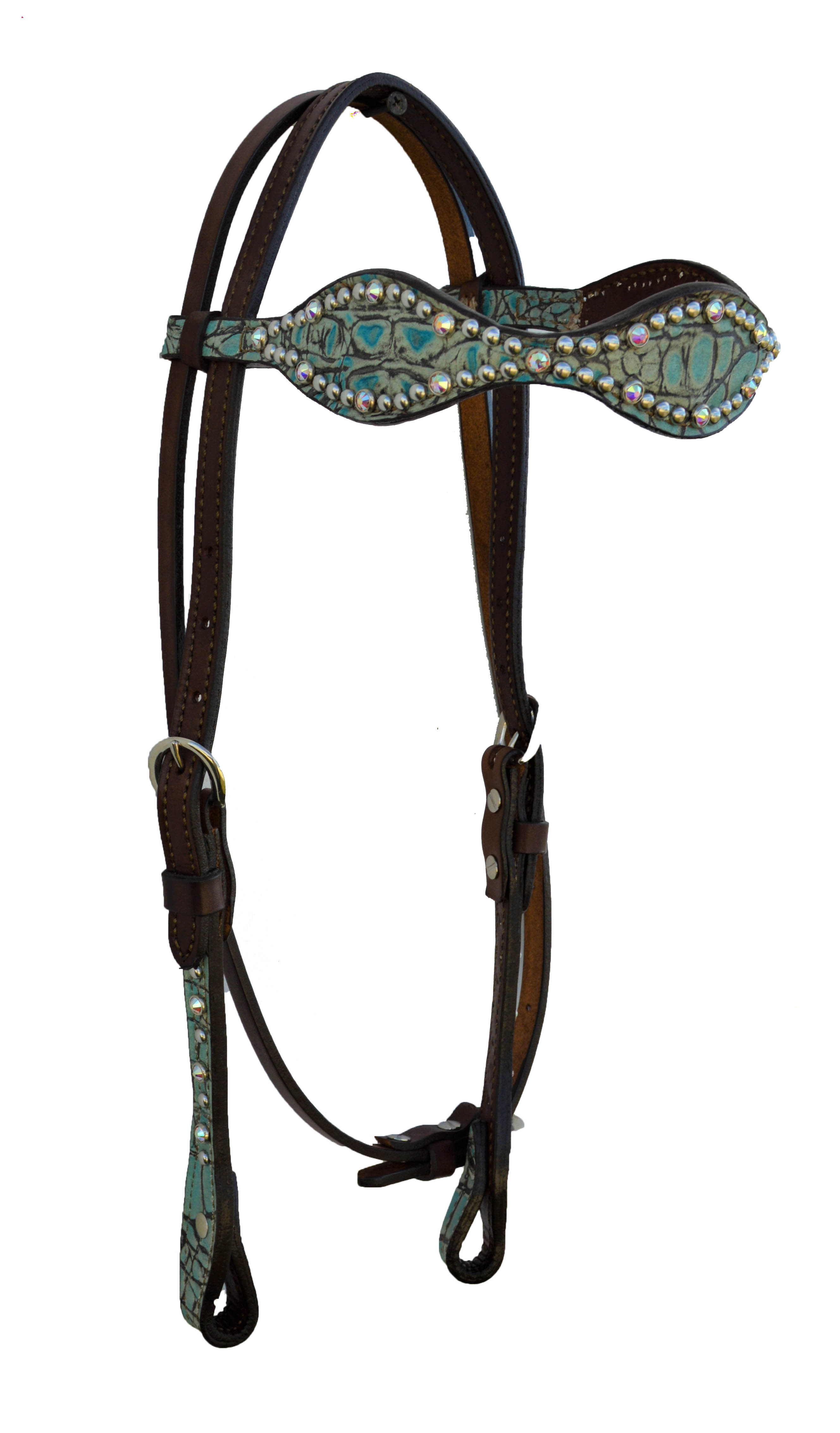 2065-JGT Scalloped Turquoise Gator Headstall