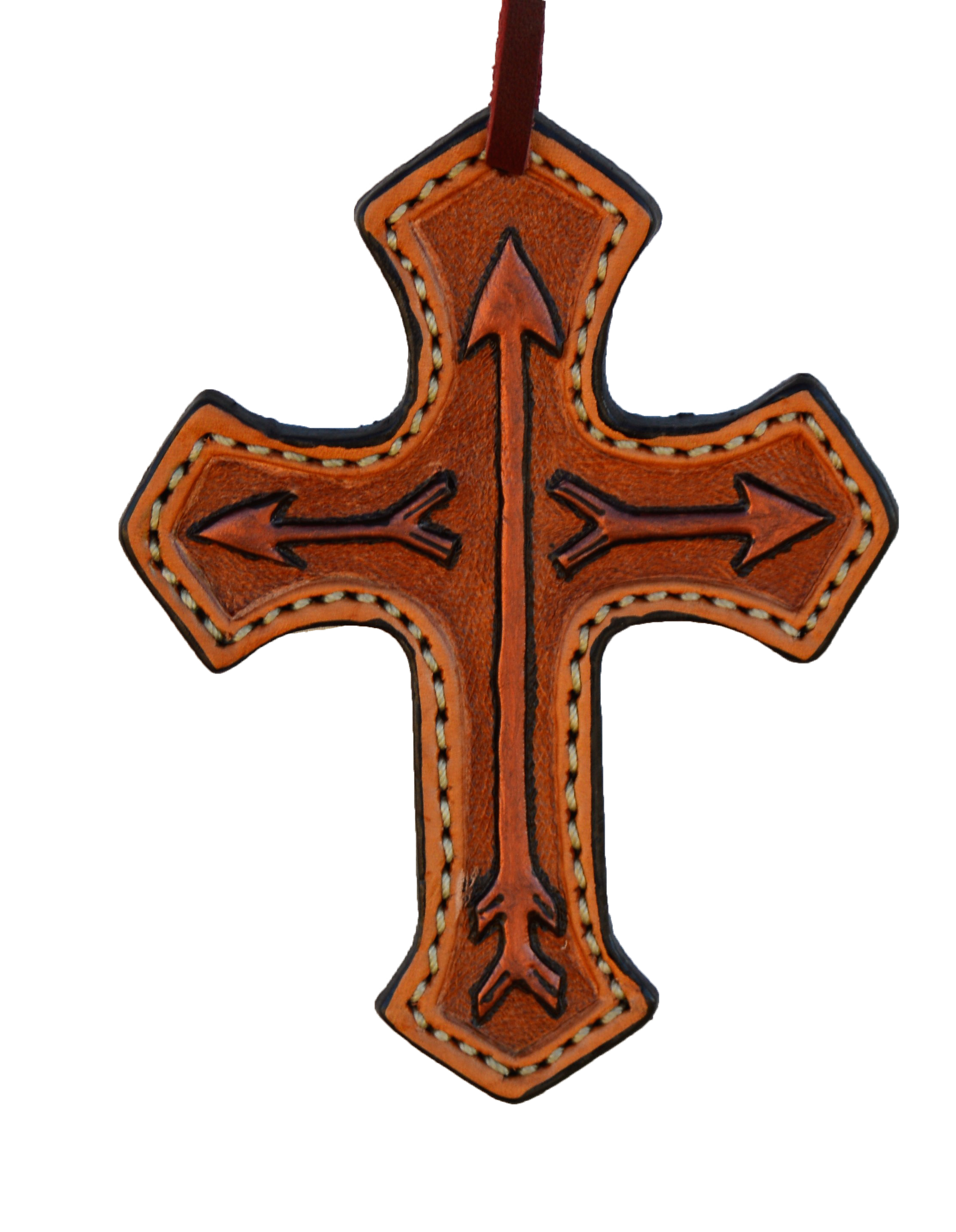108-RA Cross in Toast Leather with painted arrows