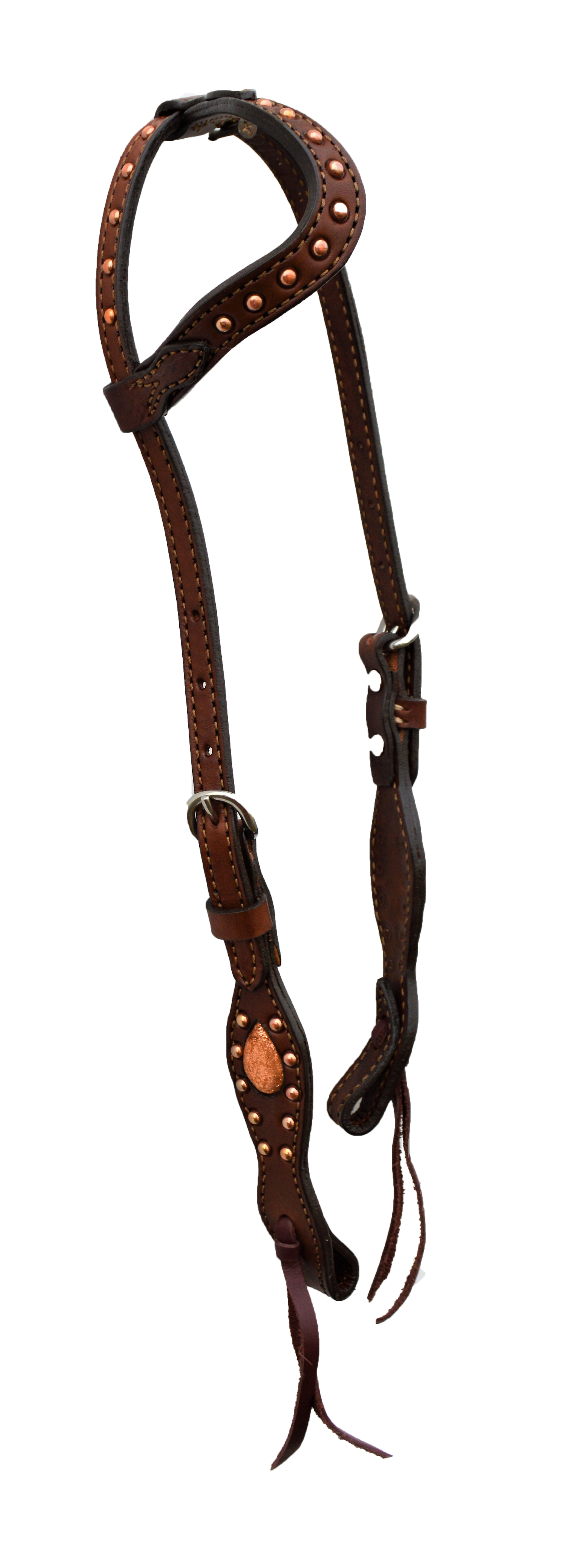 2074-BC One Ear Wave Style Headstall; Rough-out; inlaid copper crackle w/ copper spotting