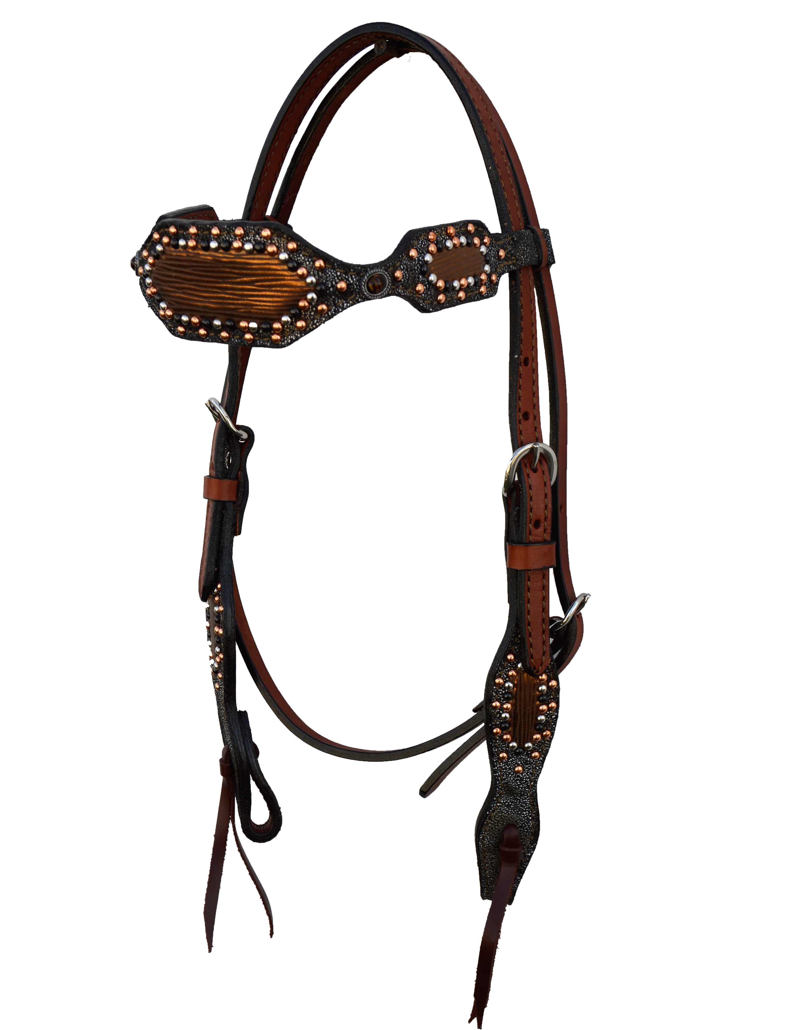 2285-TRI headstall w/ Platinum Fringe w/ 2 Overlays and Copper spotting