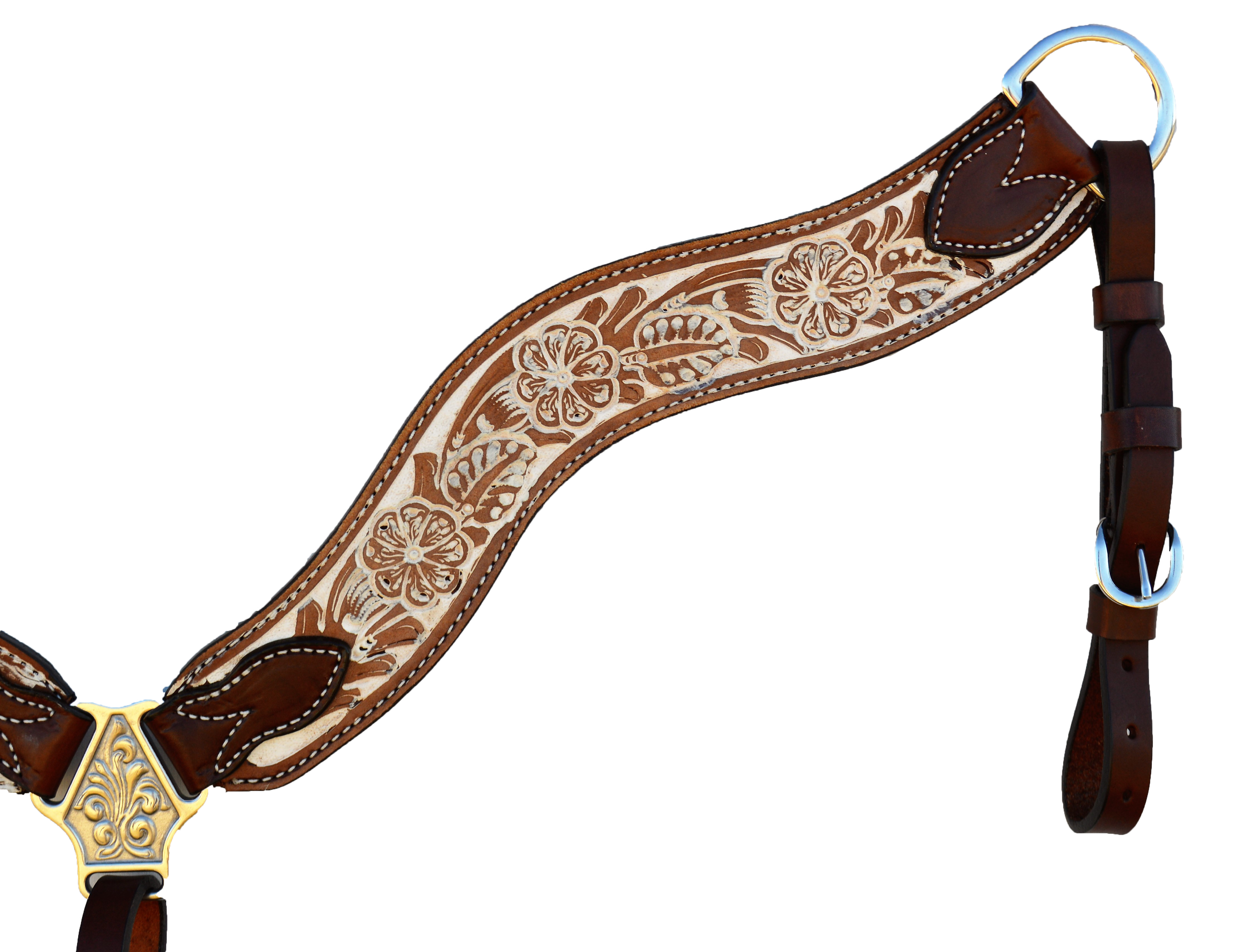 3017-IRO Breast-collar Wave Style; Rough-out Floral tooled W/ a Rustic Finish