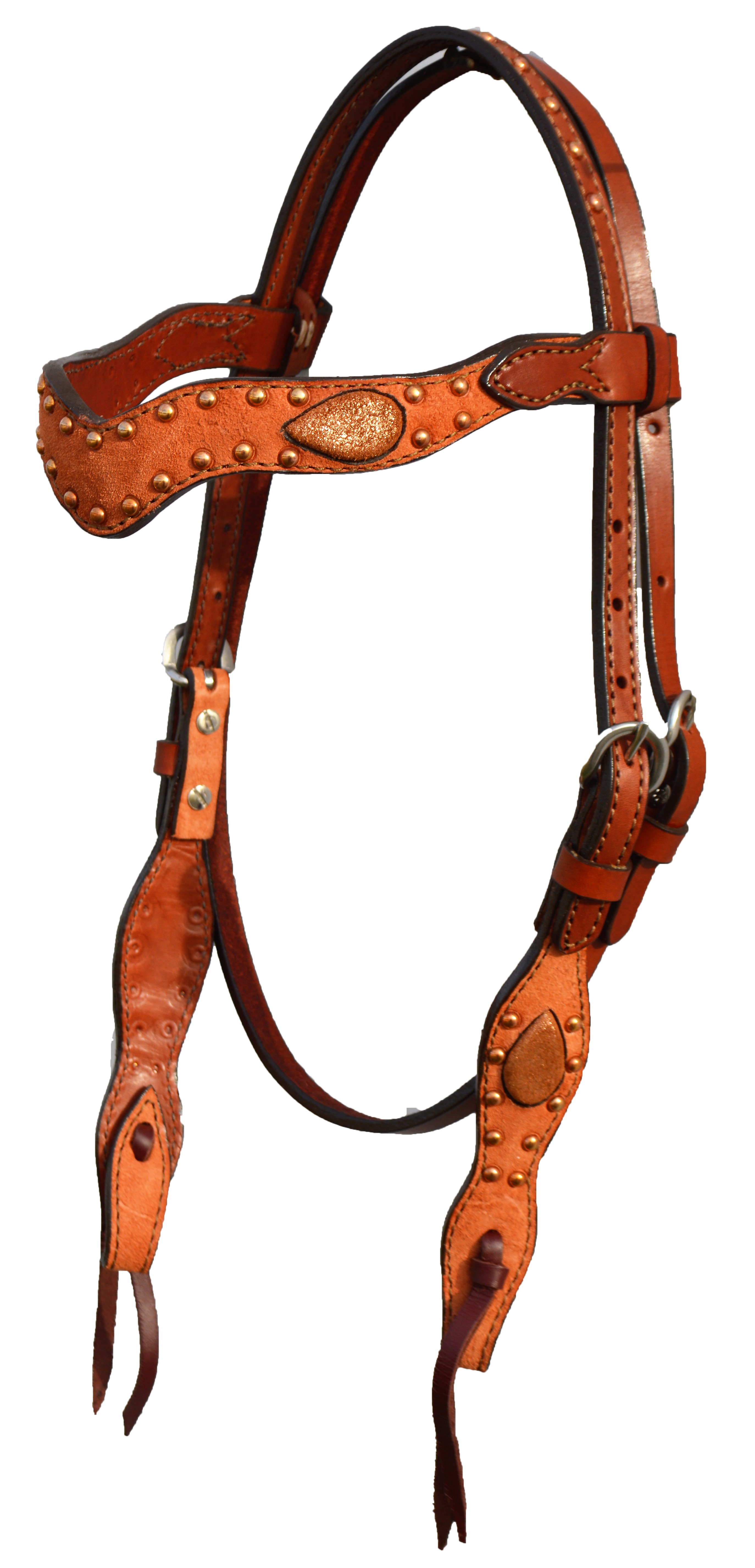 2117-BC Head-Stall Wave Style; Rough-out w/ Copper Crackle