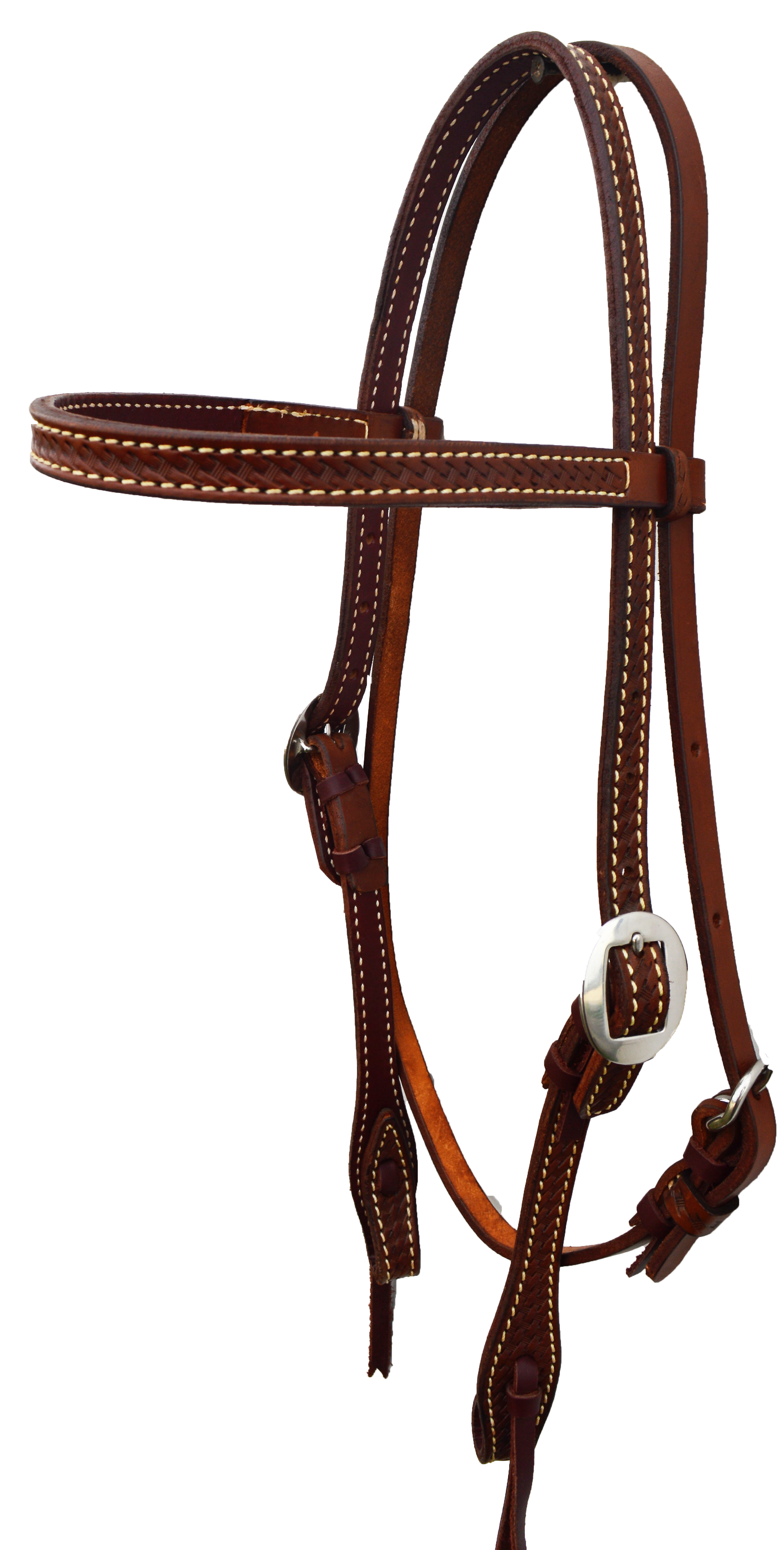 """E-2015-RO Elite 1"""" Headstall in Rough-out leather, basket tooled, Lined in Latigo"""