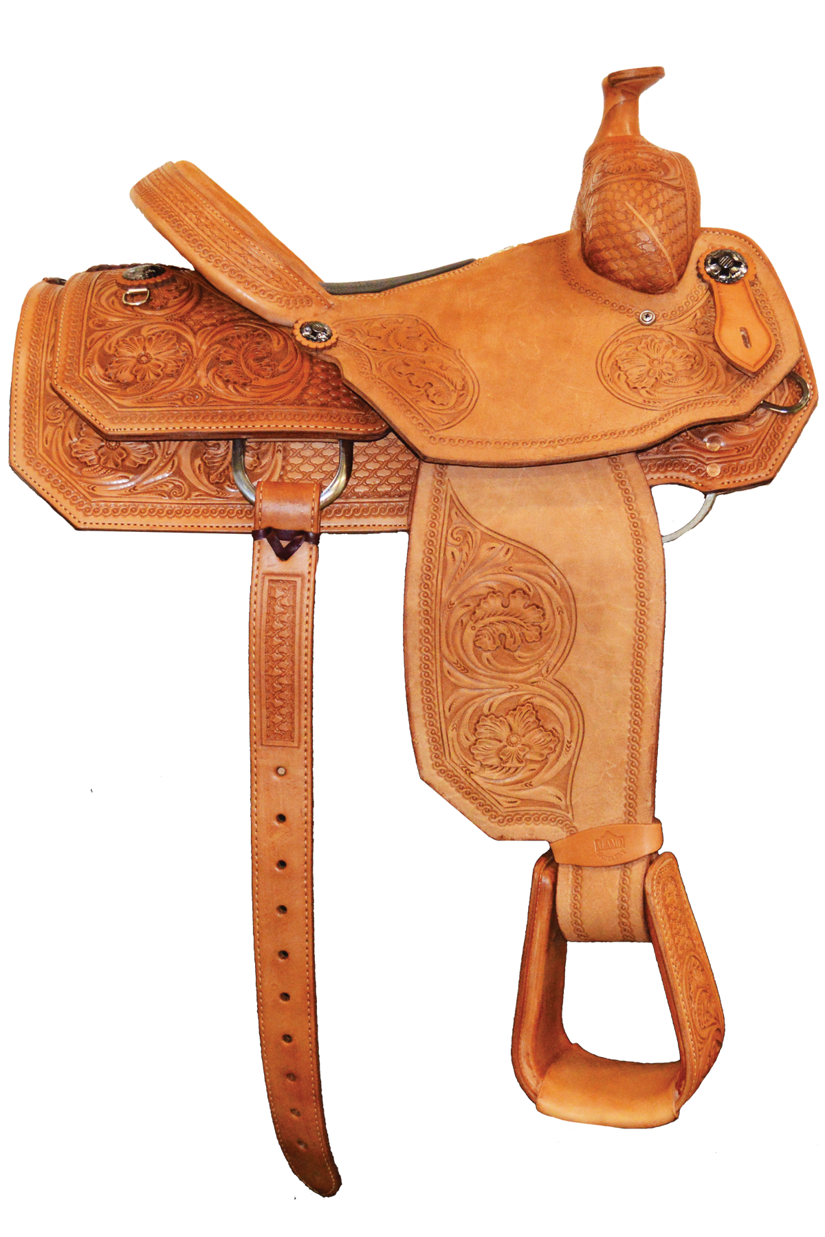 SD-10 Roper Saddle, Light leather, floral and Geo combo Tooled