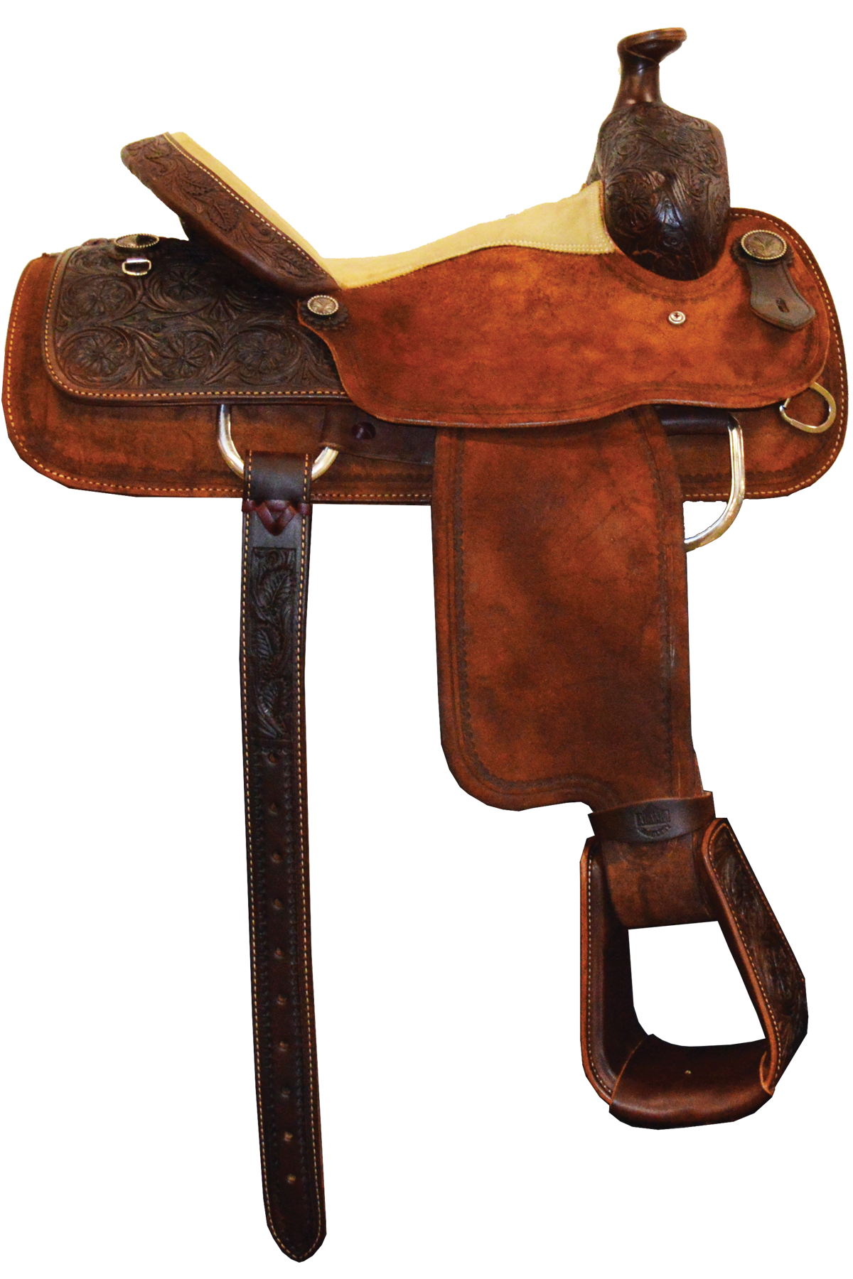 SD-15 Roper Saddle, Toast & Roughout leather with border and floral tooling
