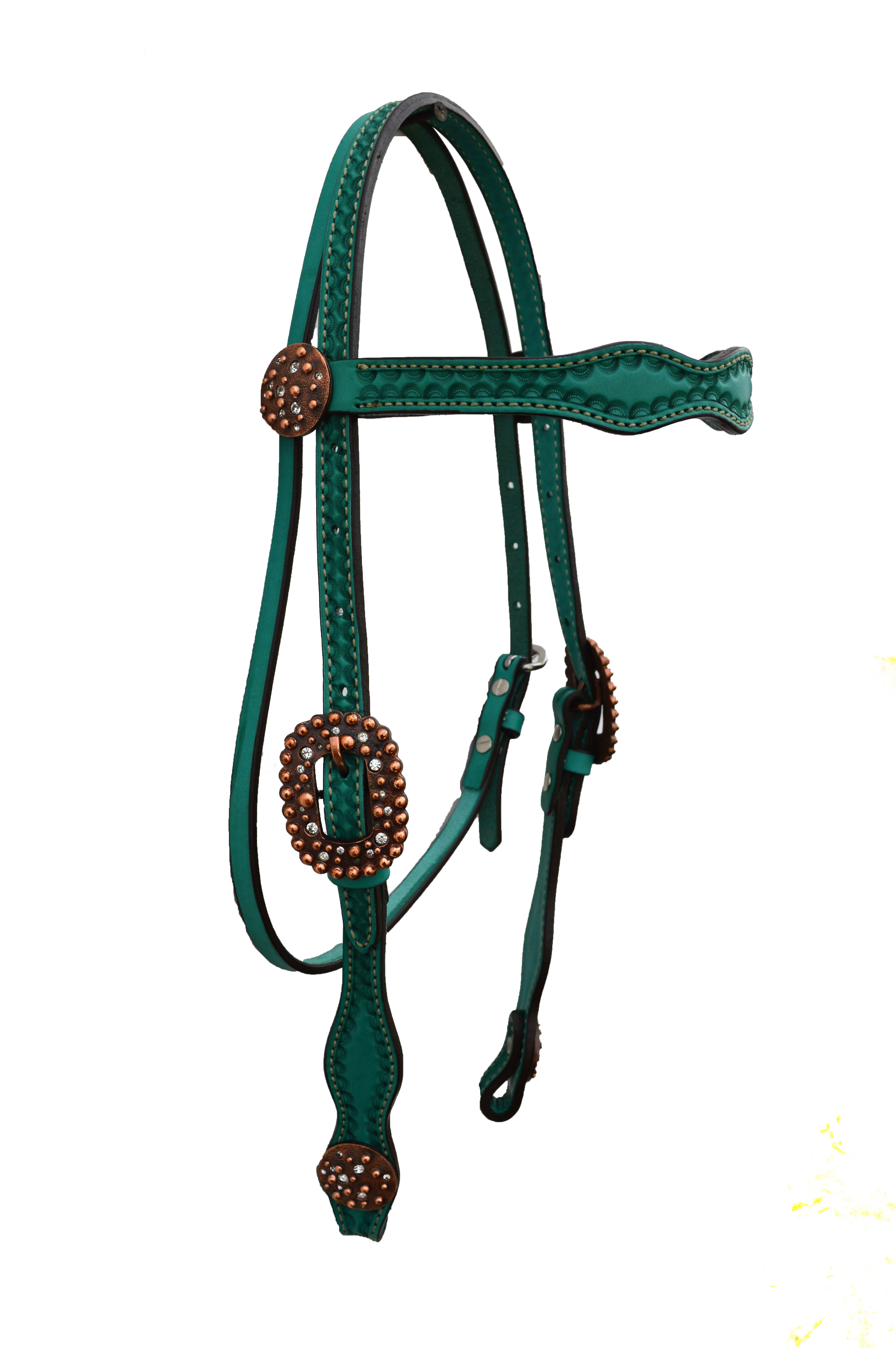 2037-QCI Scalloped, turqoise leather headstall with border shell tooling. 4 CI Conchos and Buckles