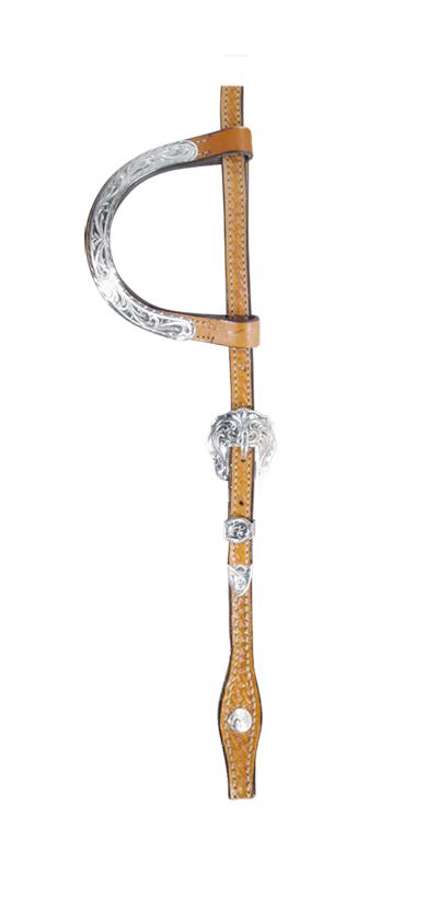 2072-KS flat double silver ear ferrule basket tooled w/ silver