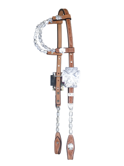 2073-Y SHOW HEADSTALL WITH CROSS BUCKLE
