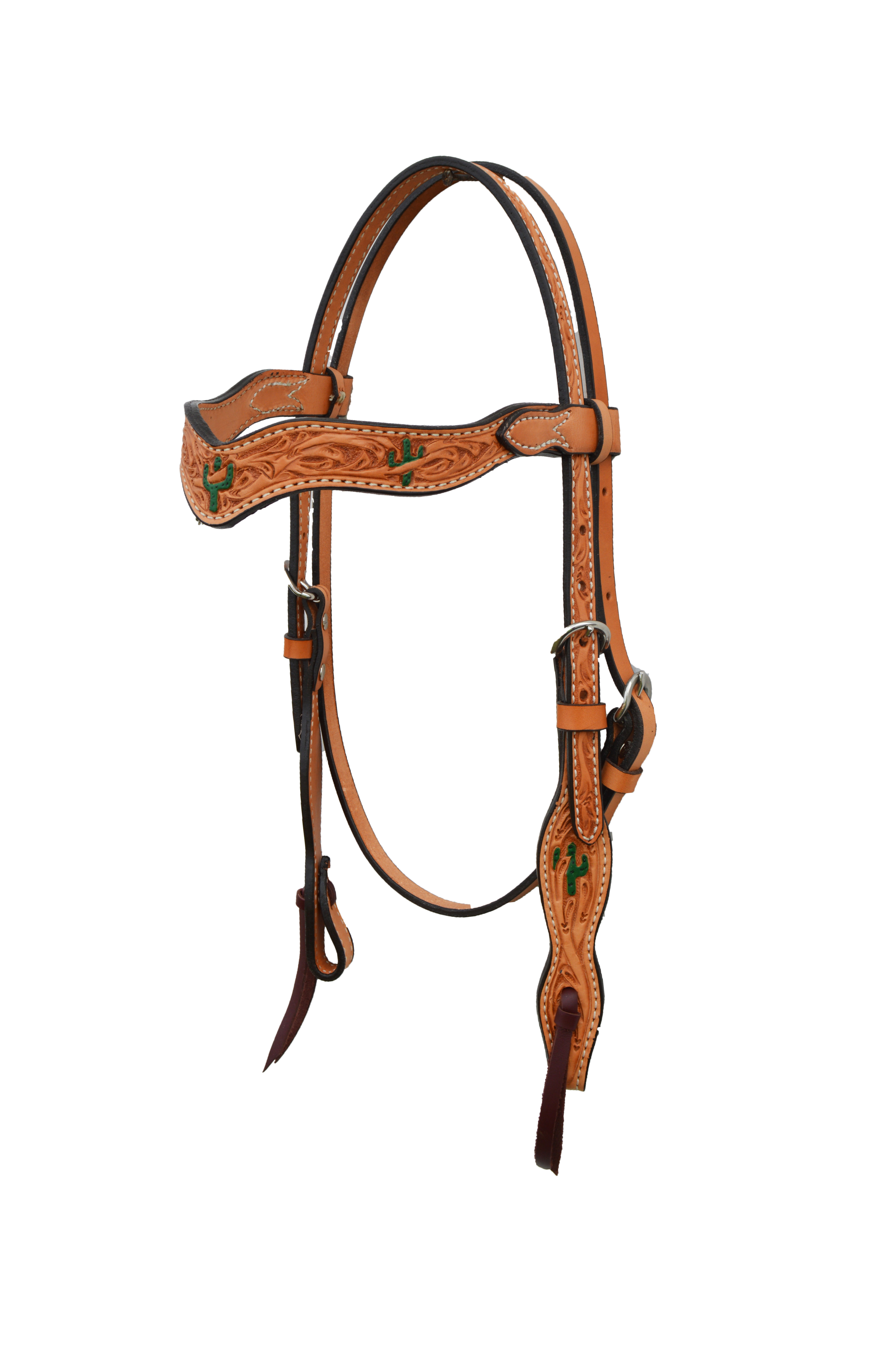2117-Y Golden wave style headstall with cactus tooling