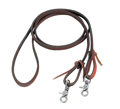 738-LN Latigo roping reins with snaps