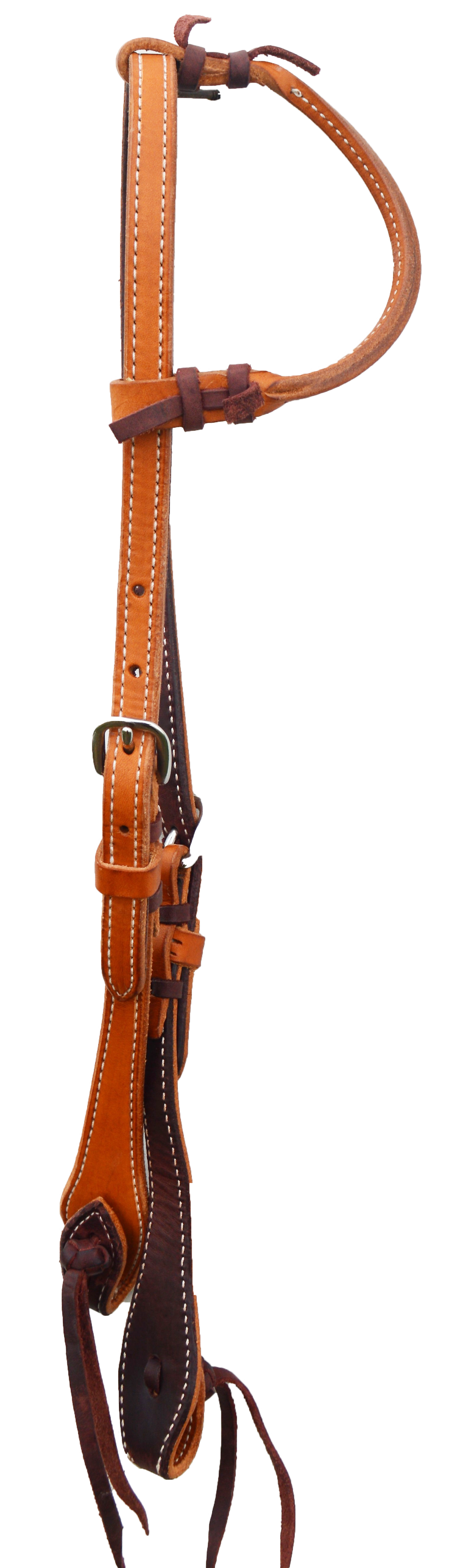 E-2071-PK ELITE ONE EAR HEADSTALL, HAND LACED, LATIGO LINED, PINEAPPLE KNOT, SS HARDWARE