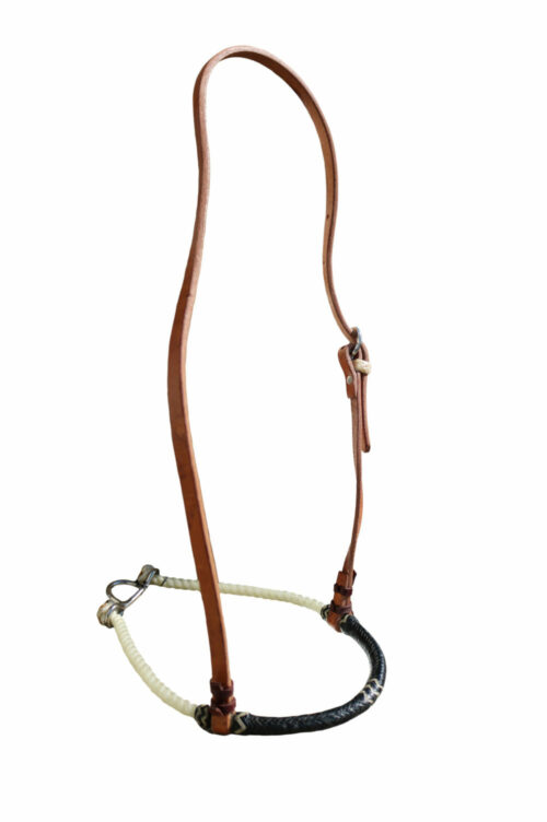 2000-ROPE NOSEBAND BLACK/NATUAL RAWHIDE HARNESS LEATHER HEAD STRAP STAINLESS STEAL BUCKLES
