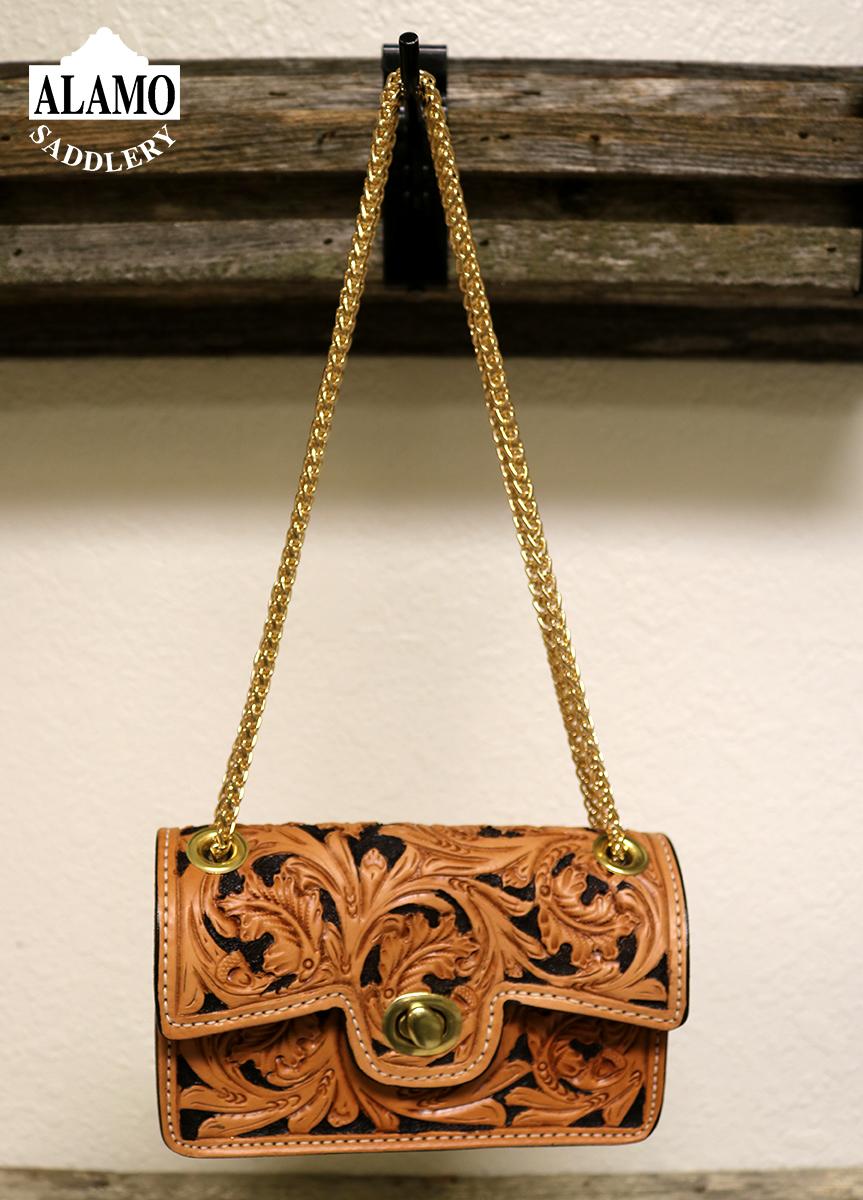 Golden Handbag w/ Ant Leaf Tooling
