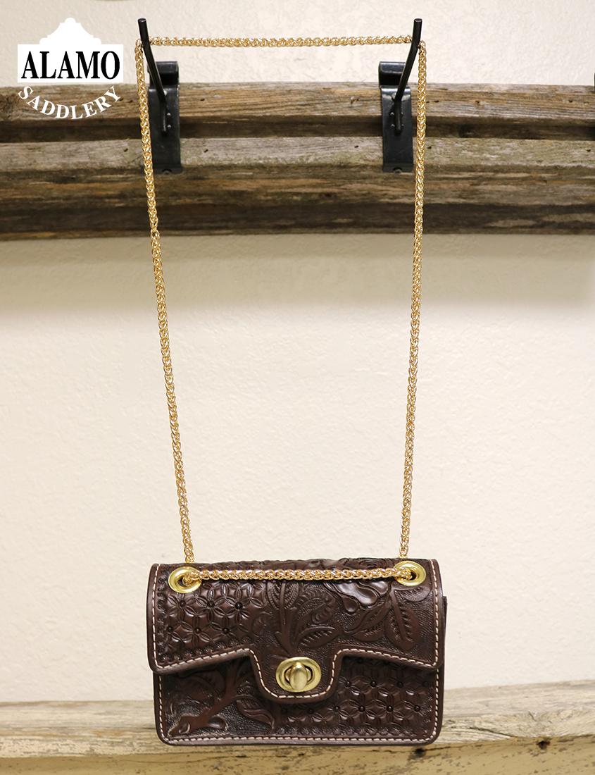 Chocolate Handbag w/ Rose and Snowflake Tooling