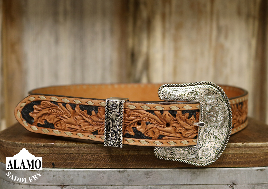 Golden Leather Belt w/ Buck Stitch and Acorn Tooling
