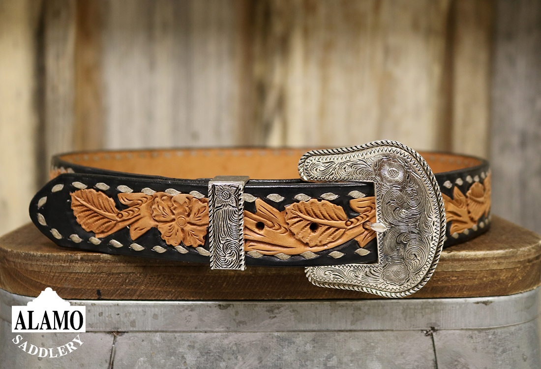 Golden Leather Belt w/ Buck Stitching Floral Tooling