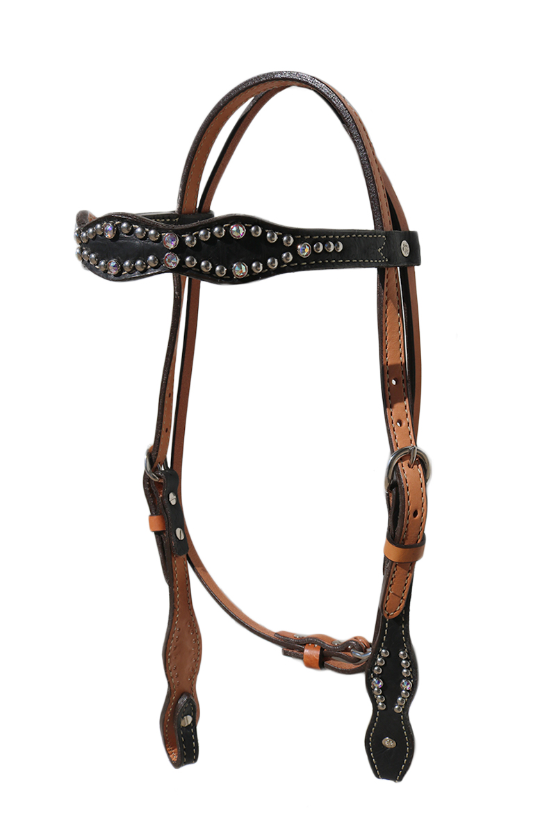 2037-JGA Black gator print scalloped headstall
