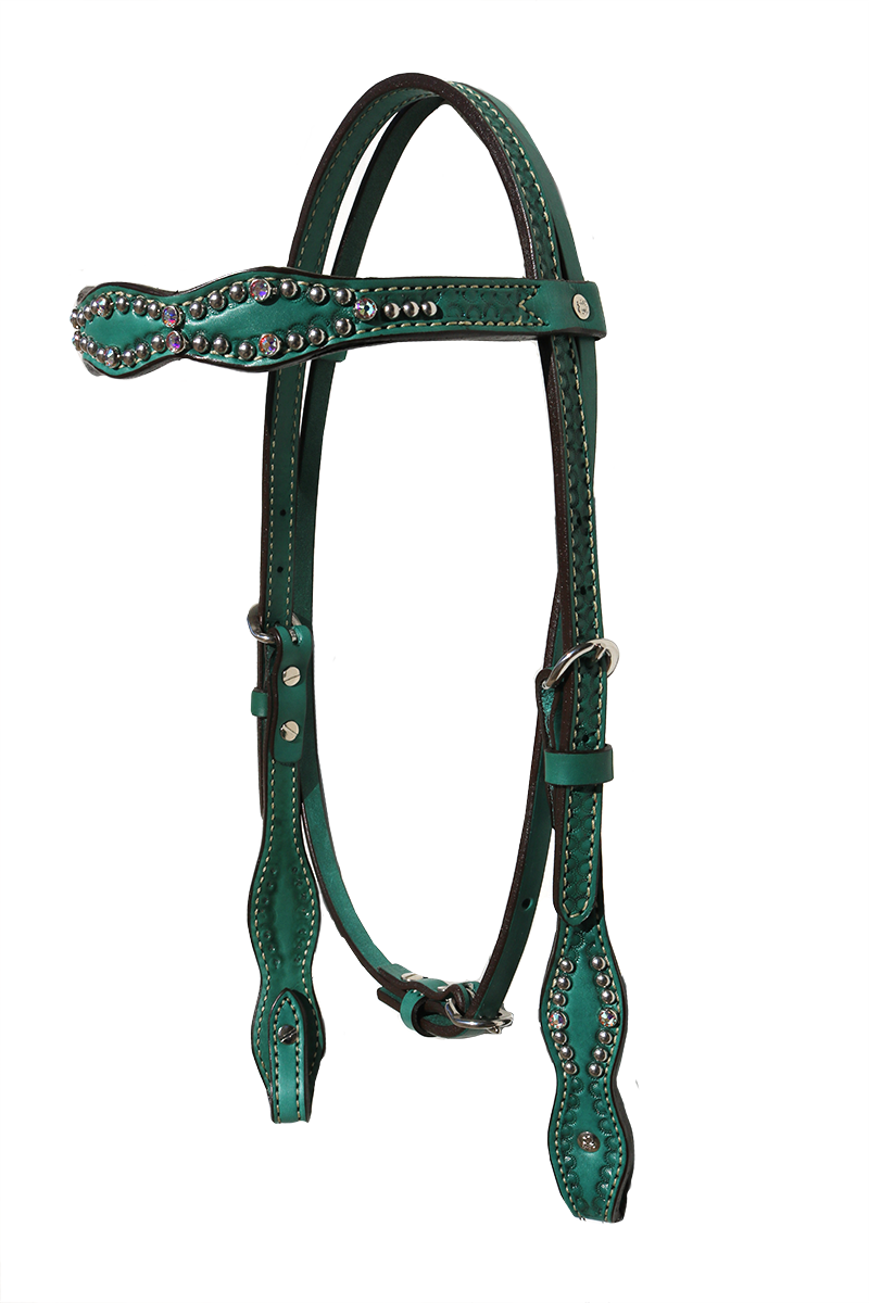 2037-JQ Scalloped headstall with turquoise leather