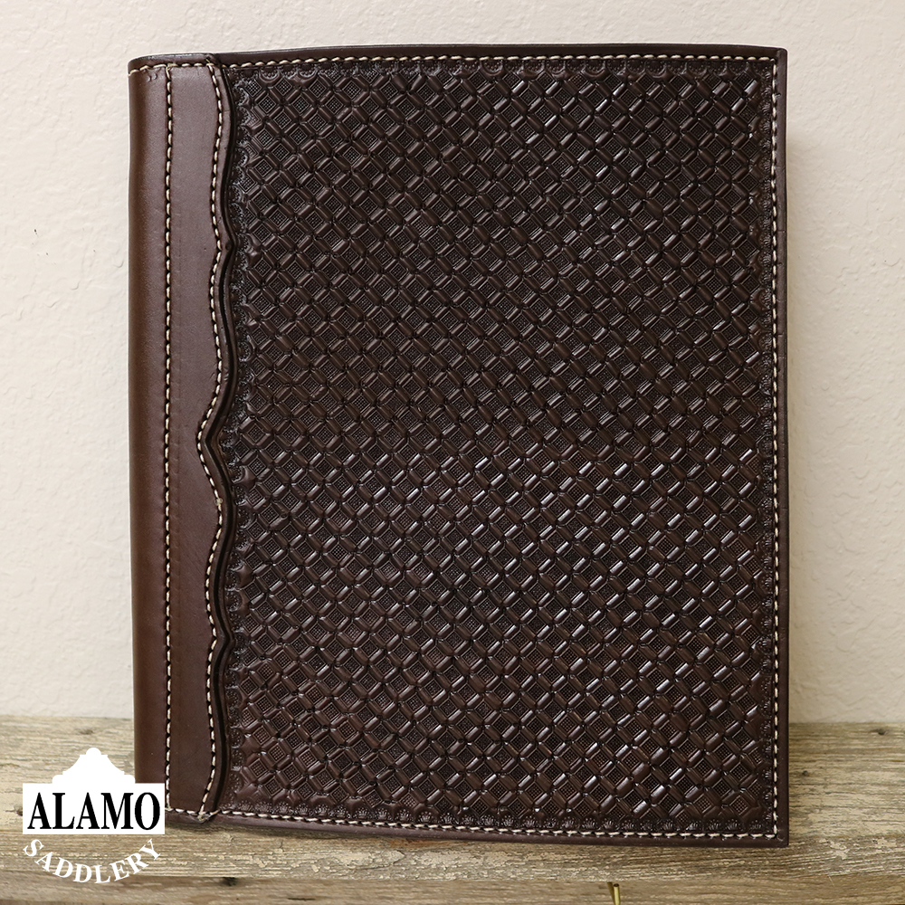 Chocolate Leather Portfolio w/ Geo Tooling