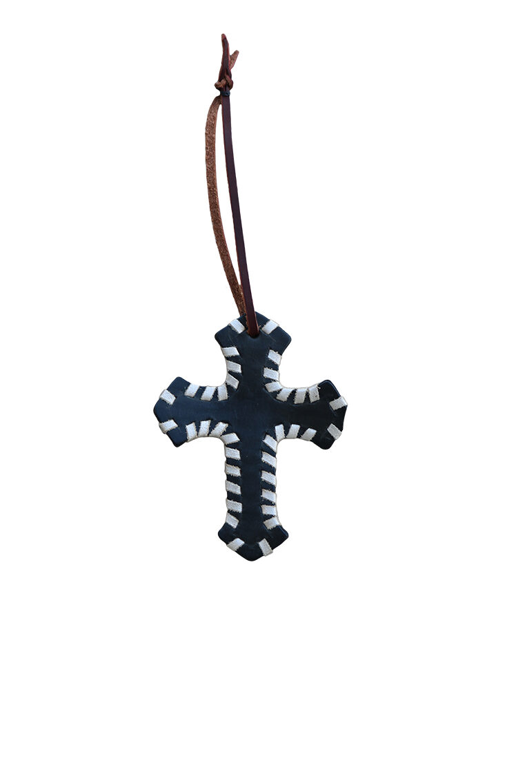 108-AW SADDLE CROSS IN BLACK LEATHER W/ WHIP LACE