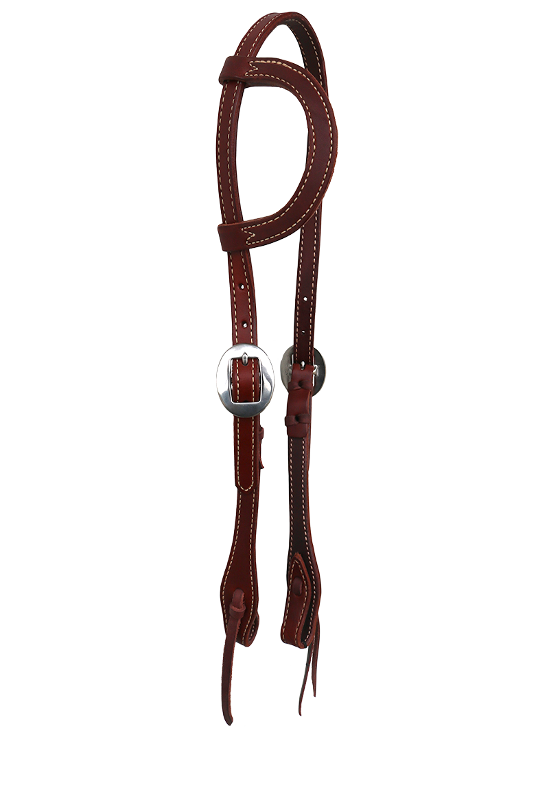 E-2070-C Elite One Ear Headstall Chestnut Flat