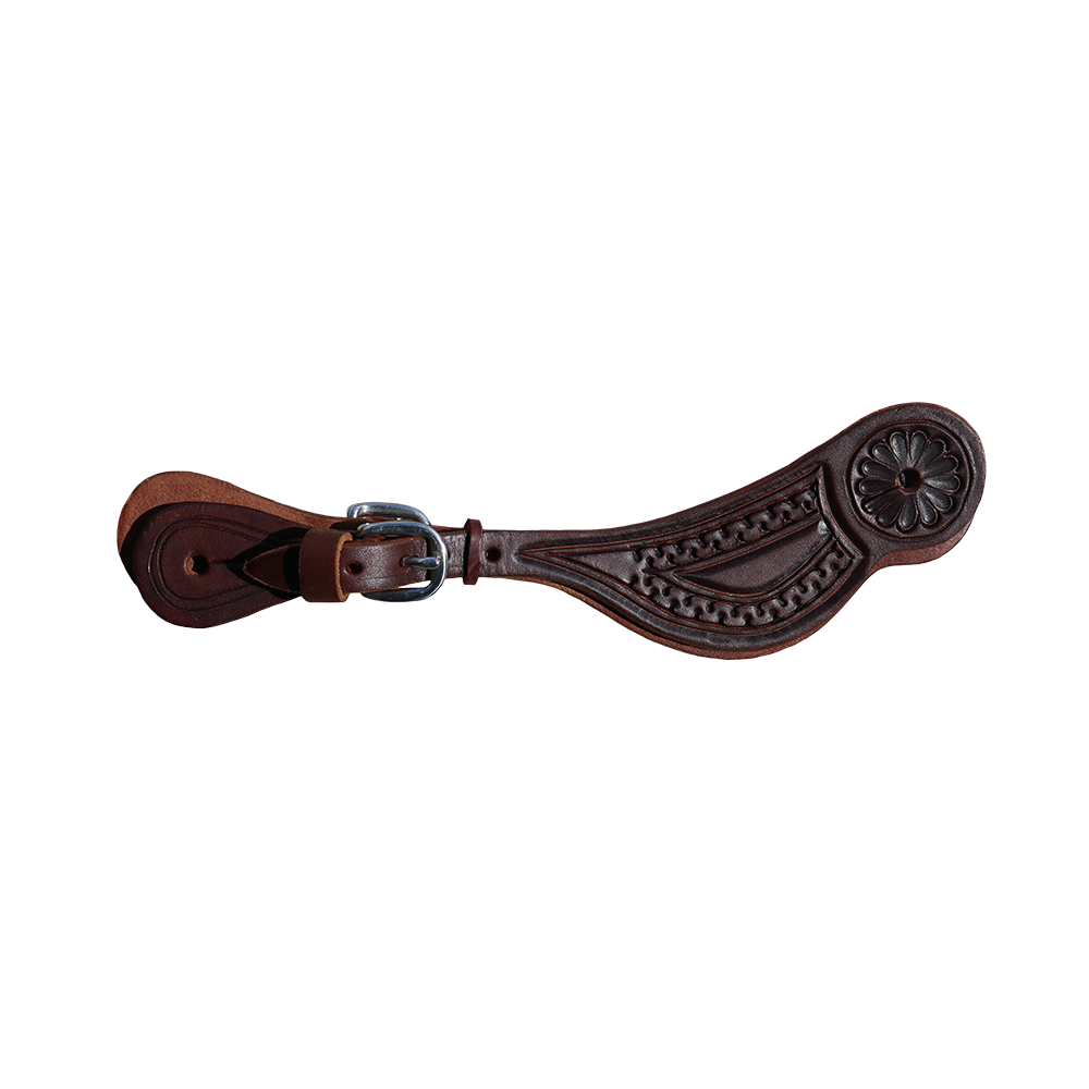 E-301-C Elite Spur Strap Chocolate Boarder Tooled