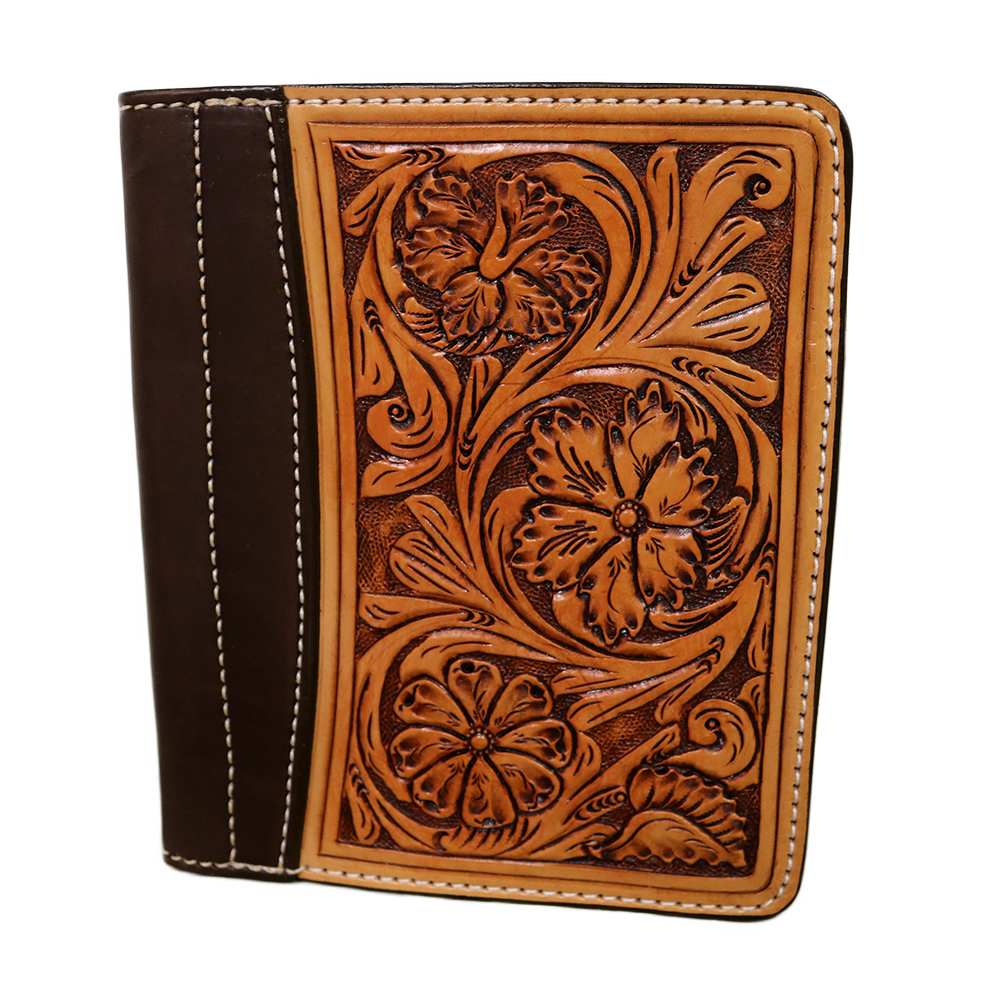 Golden Leather Mini Portfolio w/ Floral Tooling
