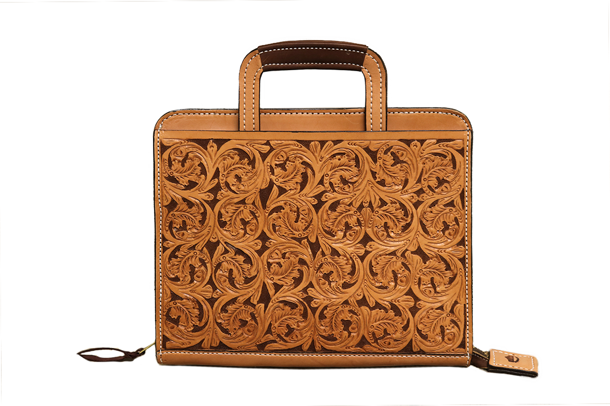 Golden leather briefcase w/ mini floral tooling