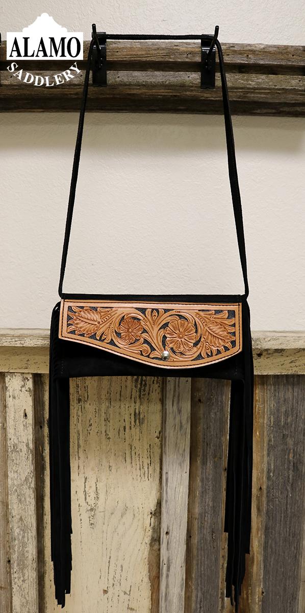 Black fringe handbag w/ golden floral tooling