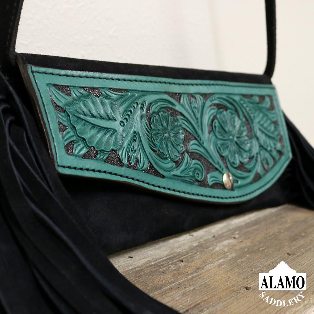 Black fringe handbag w/ turq floral tooling