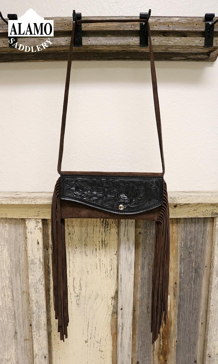 Brown fringe handbag w/ black floral tooling
