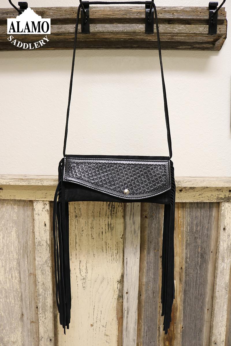 Black fringe handbag w/ black geo tooling
