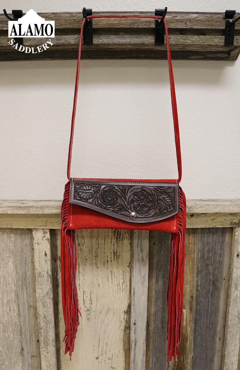 Red fringe handbag w/ red floral tooling