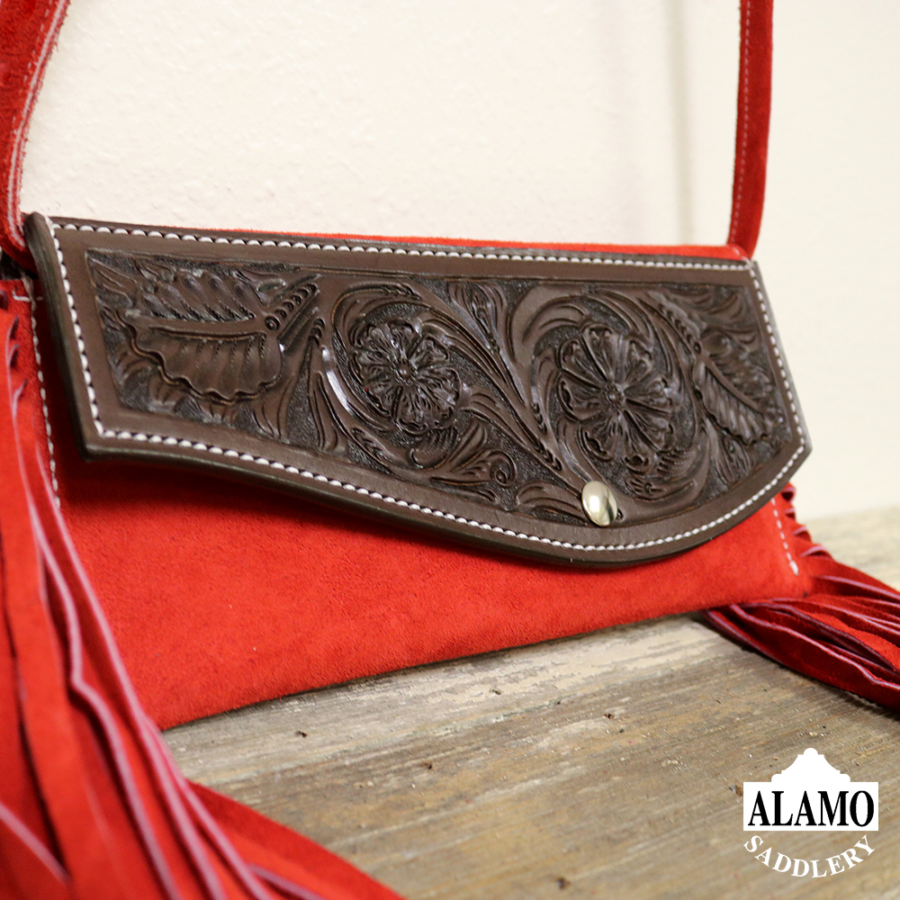 Red fringe handbag w/ red floral tooling