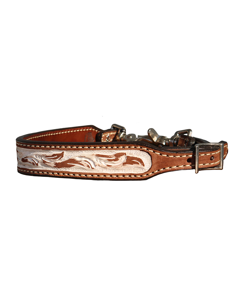 200-IRO Wither Strap in Rough Out Floral Tooled with Ivory in a Rustic Background