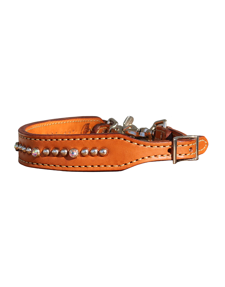 200-J Russet leather wither strap w/ crystals and spots