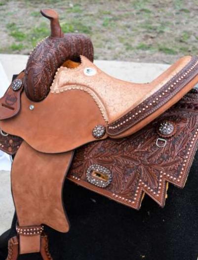 Barrel Saddle Toast Leather half floral tooled copper crackle seat