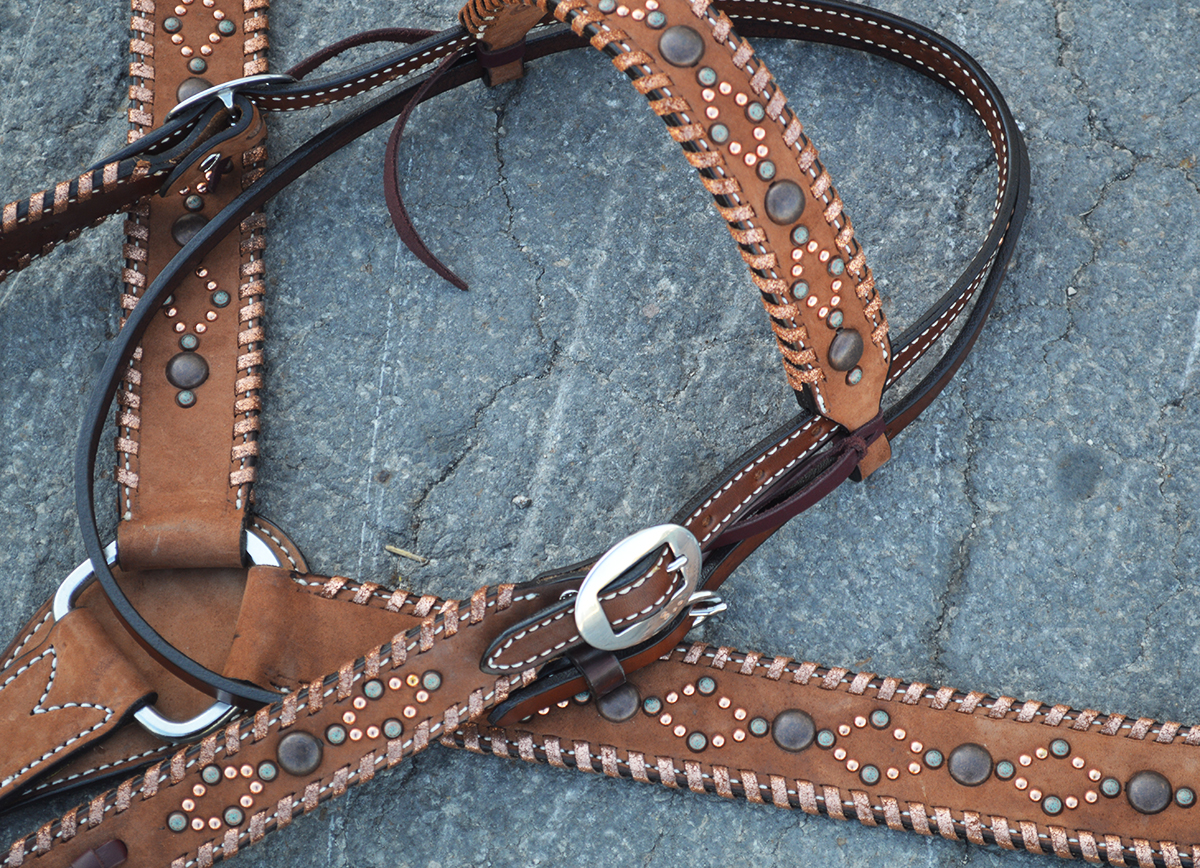 ROUGH OUT CHOCOLATE LEATHER W/ COPPER CRACKLE WHIP LACE TACK TREASURE OF THE DAY
