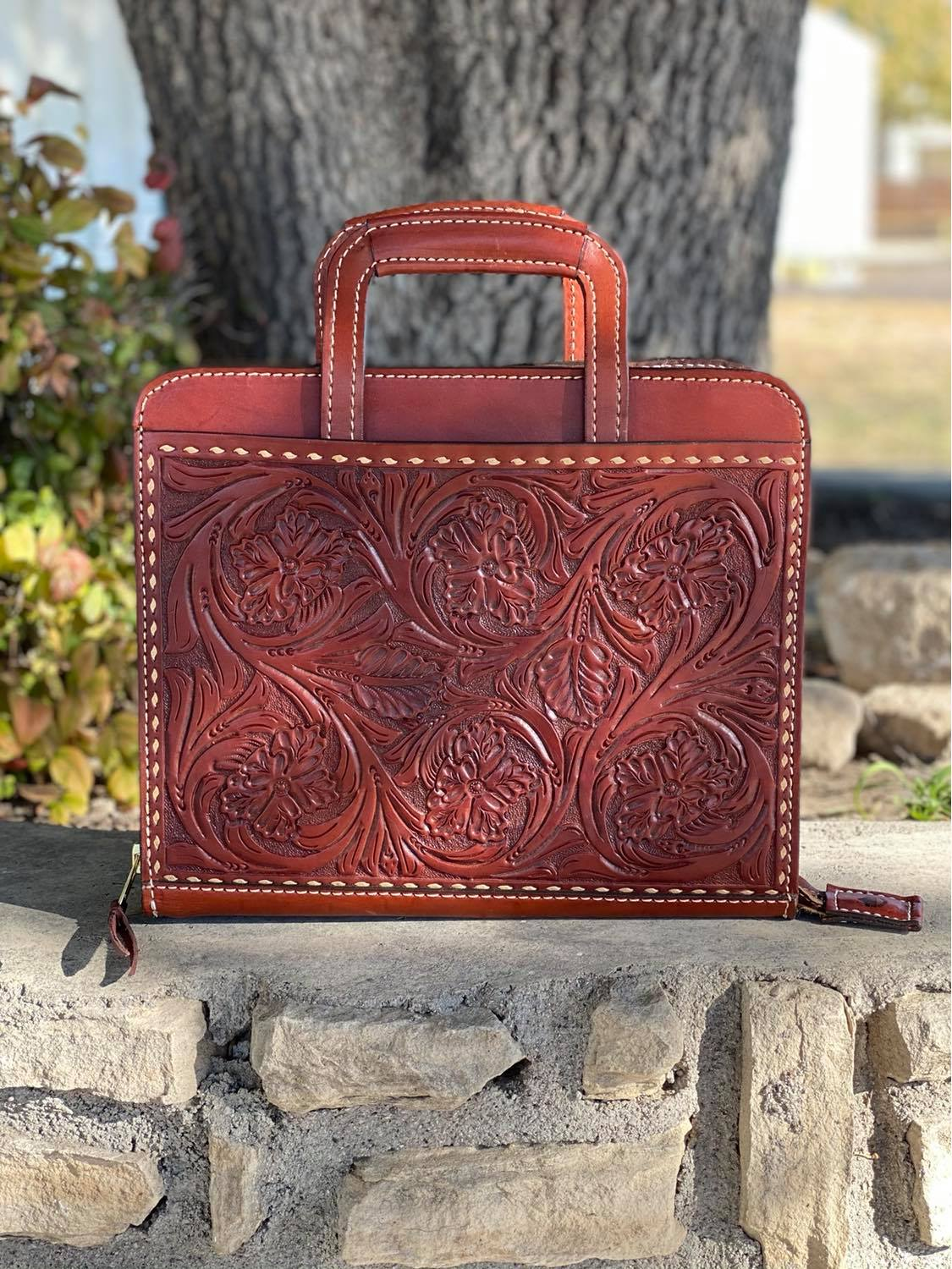 Cowboy Briefcase floral Tooled in toast with natural buckstitch