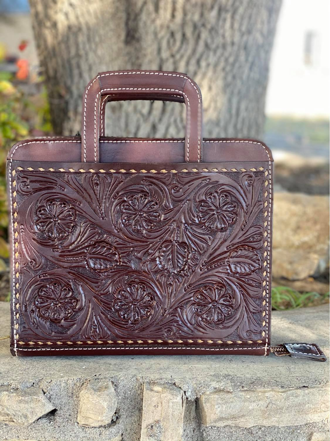 Cowboy Briefcase floral Tooled in chocolate with natural buckstitch