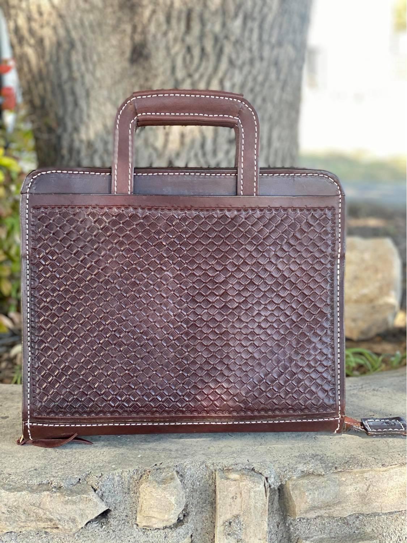 Cowboy Briefcase chocolate geo Tooled