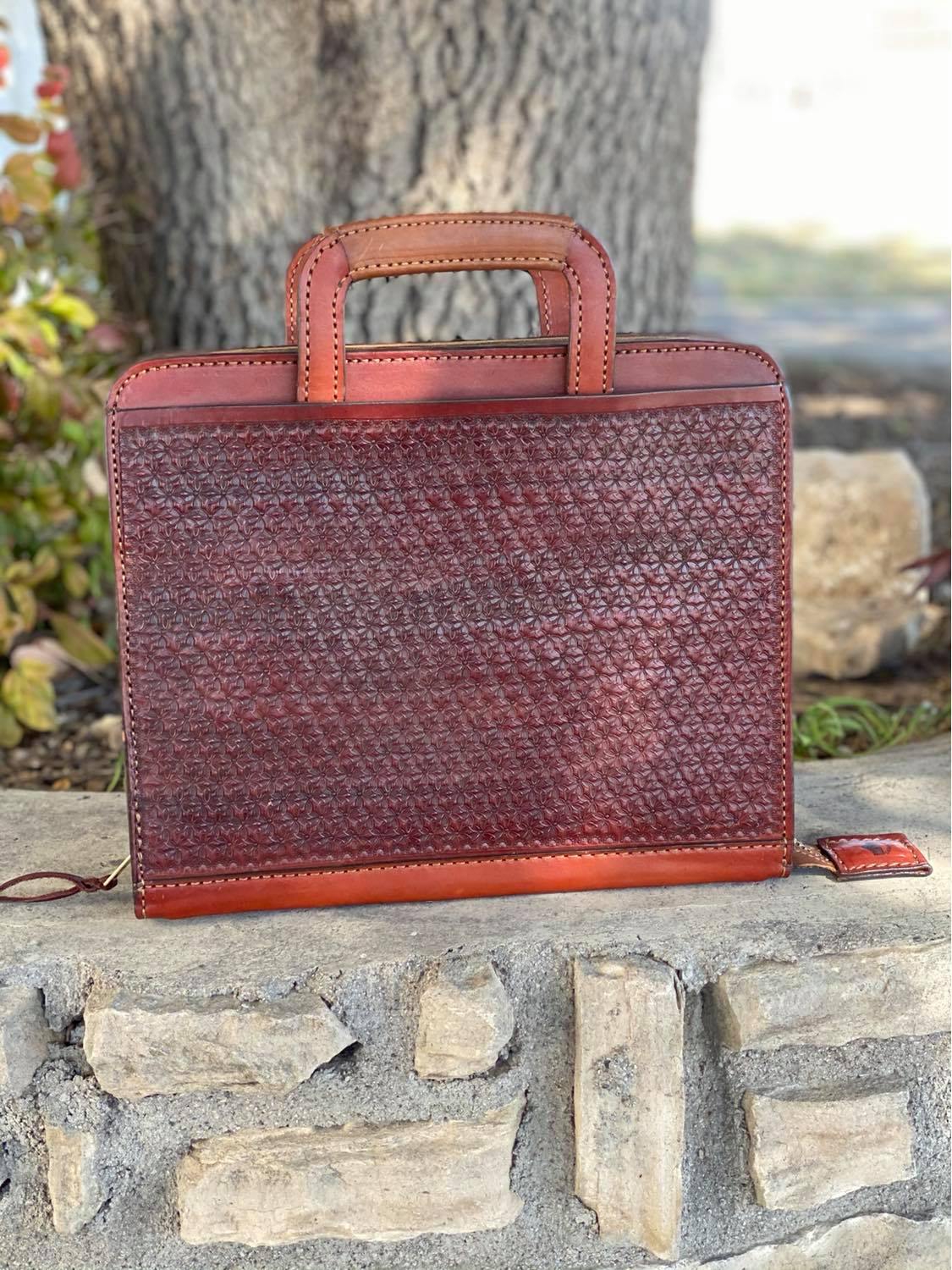 Cowboy Briefcase geo Tooled in toast leather