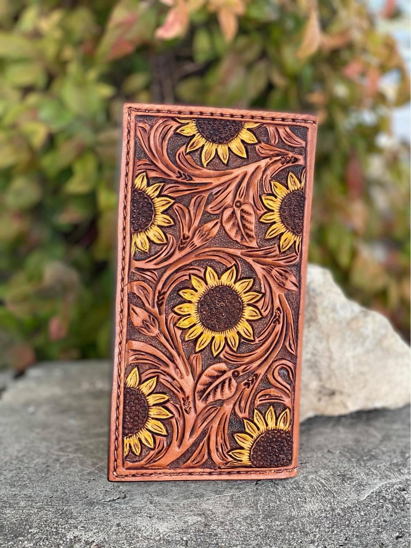 Bi-Fold Sunflower tooled wallet