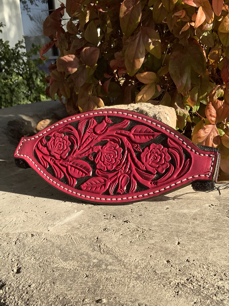 4310-RP Bronc nose dirty pink leather rose tooled