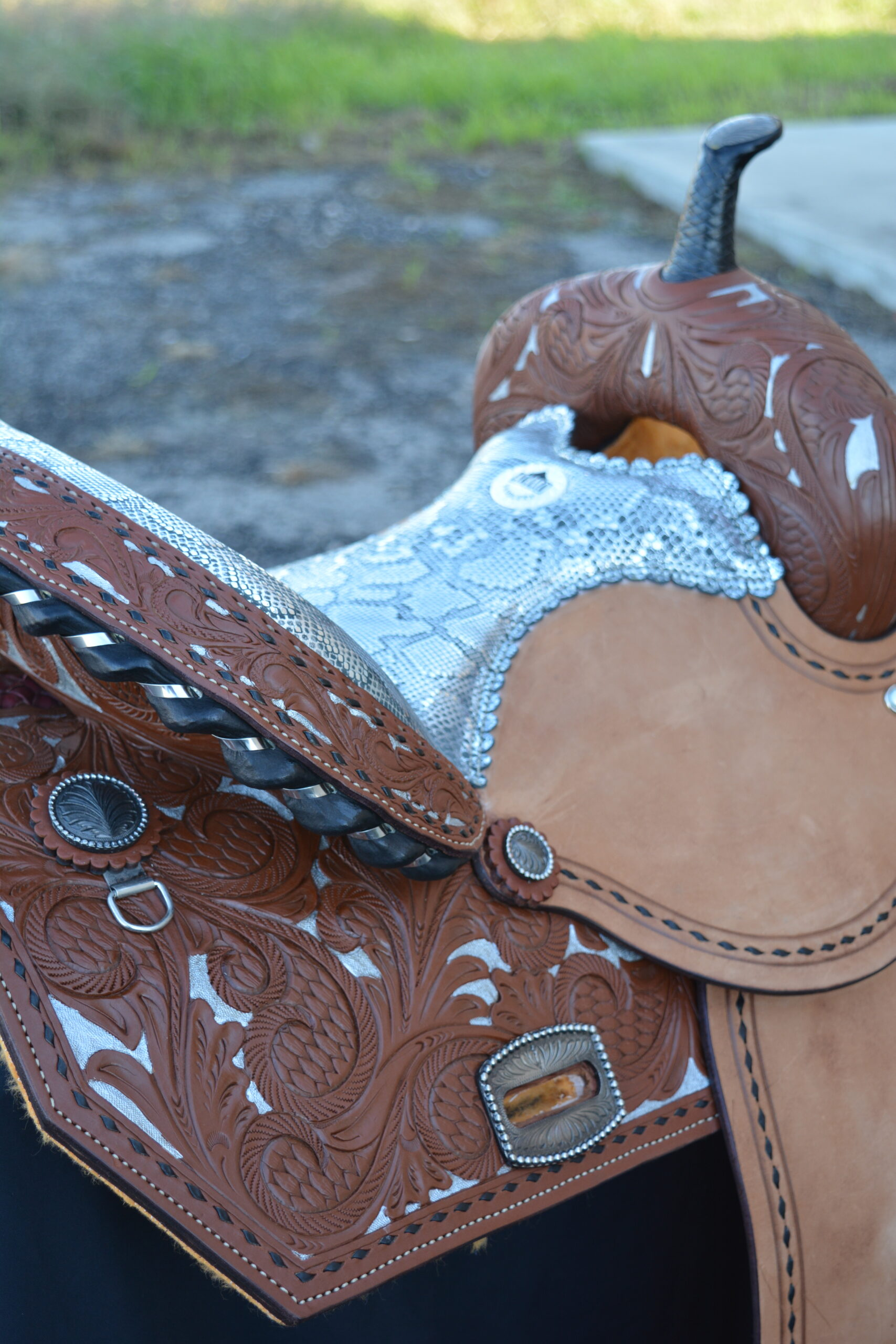 Barrel saddle toast leather half floral tooled silver python seat