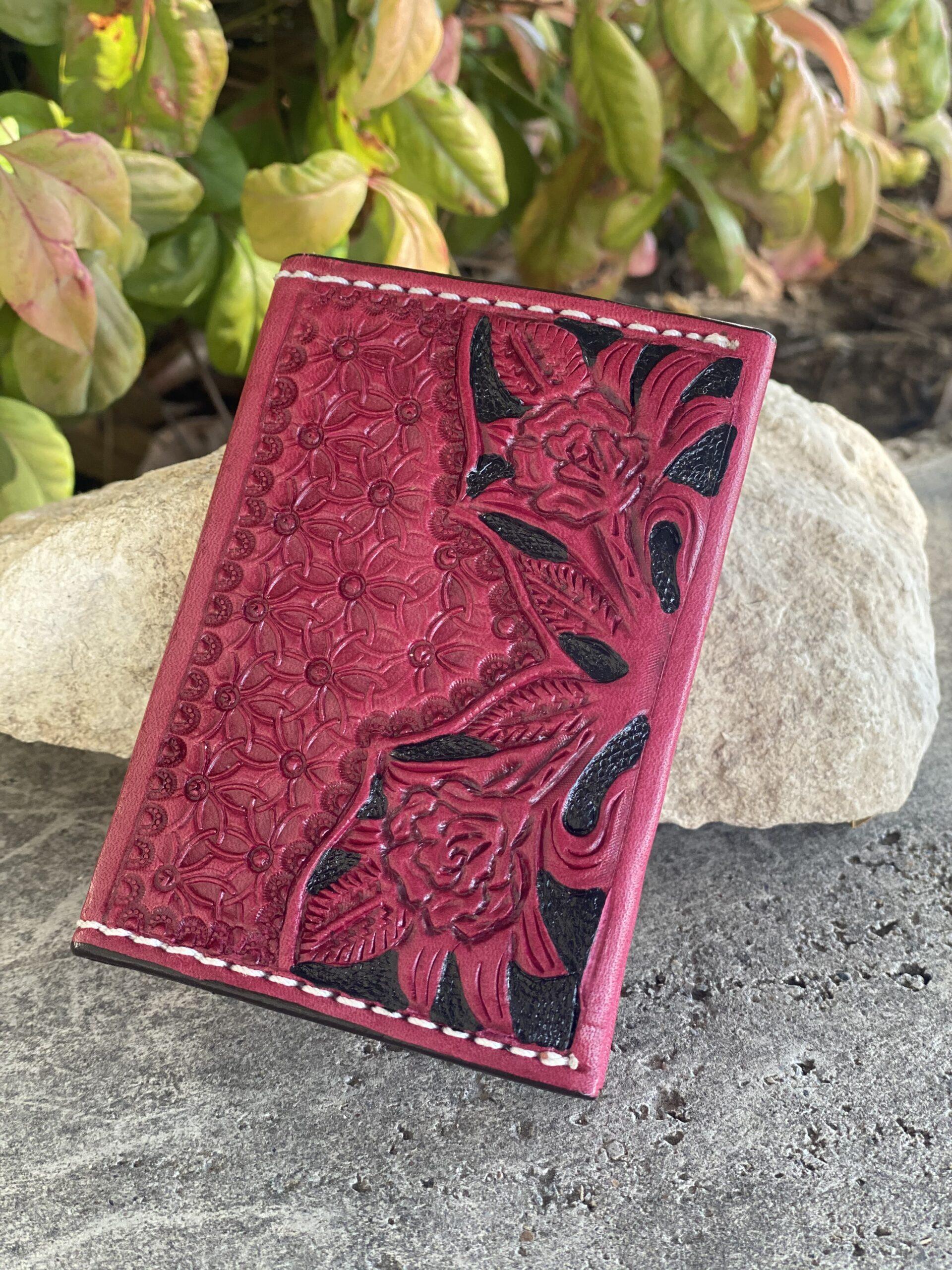 Card Holder Pink Rose tooled
