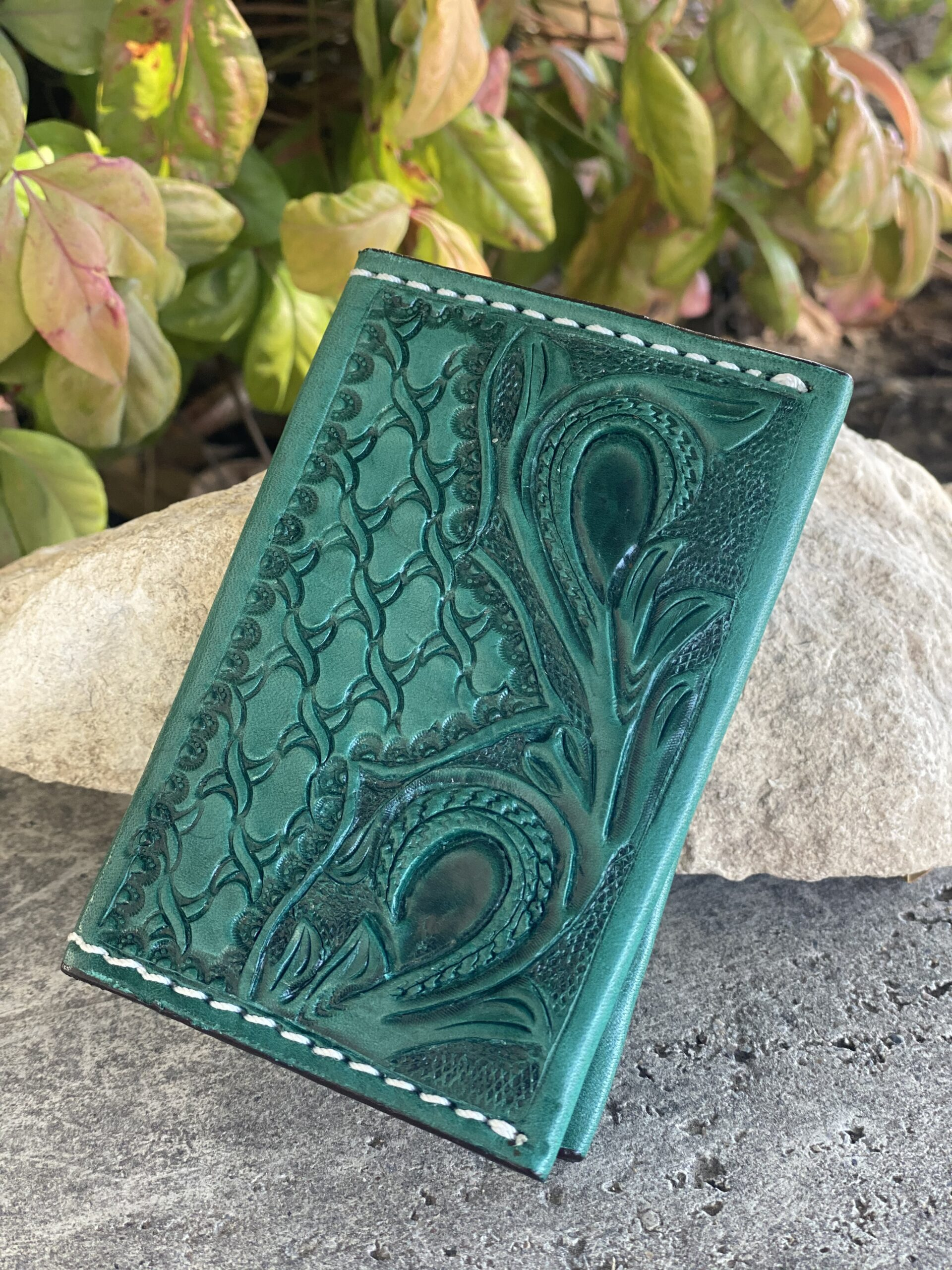 Card Holder Turquoise tooled