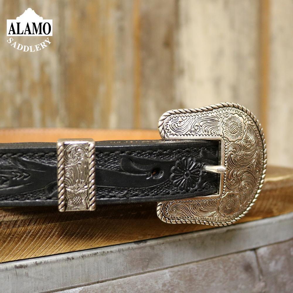 Belt black leather floral tooled