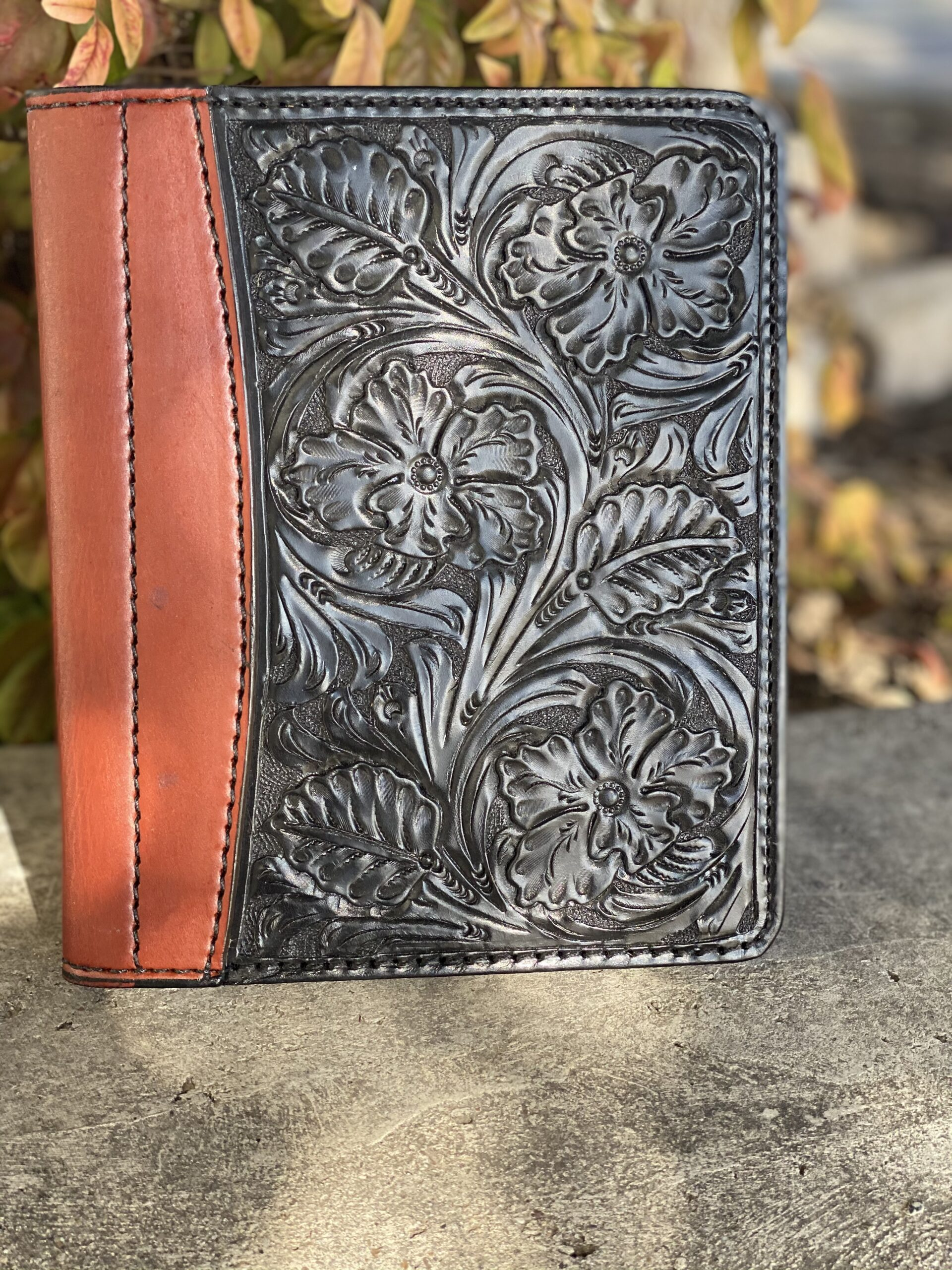 black floral tooled Tooled Mini Portfolio/Planner