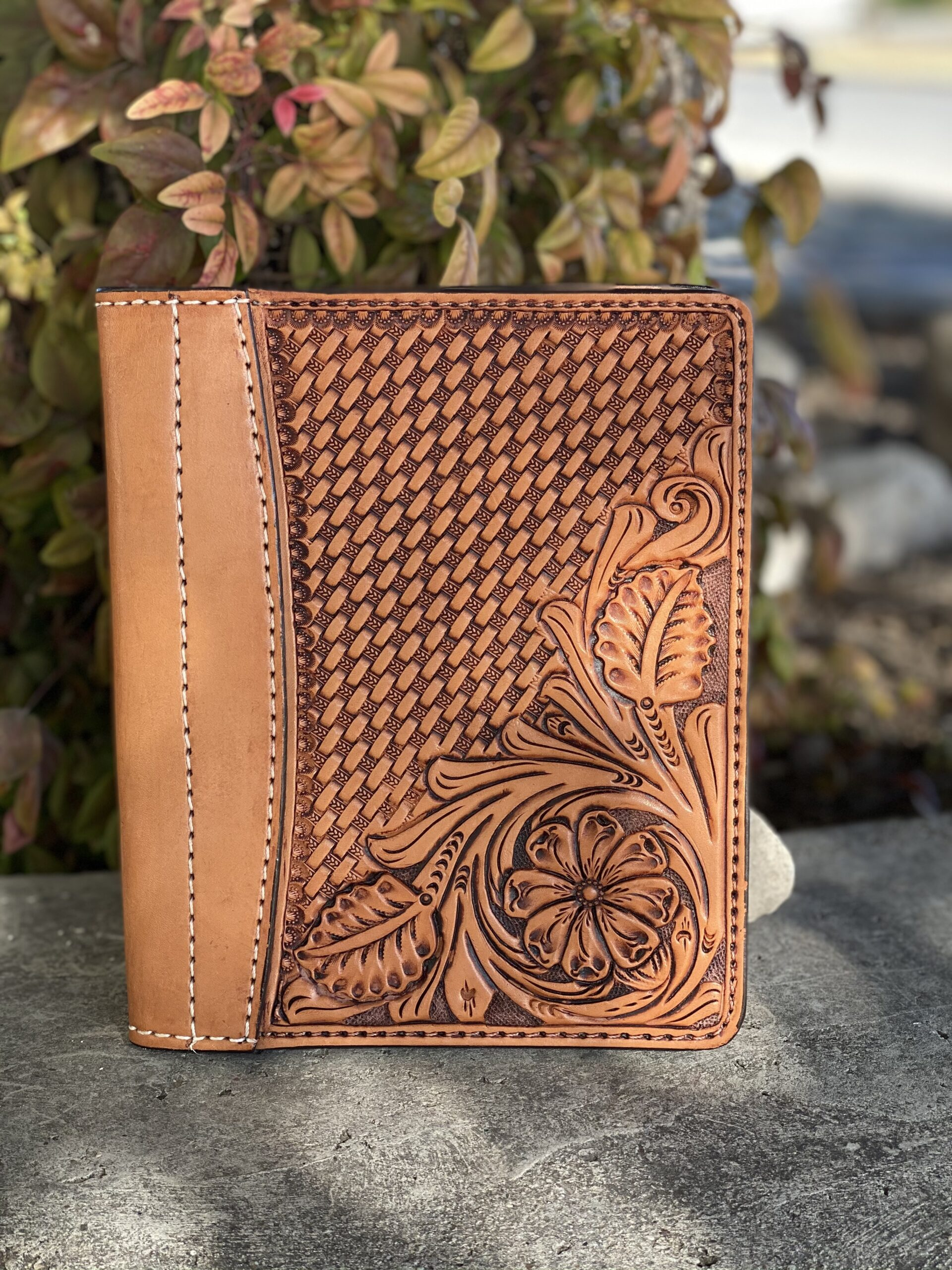 Golden Antiqued combo tooled Tooled Mini Portfolio/Planner